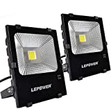 LEPOWER 50W LED Flood Light 2 Pack, Super Bright Outdoor Work Light With Plug, 250W Halogen Bulb Equivalent, IP66 Waterproof, 4000lm, 6000K, Outdoor Led Lights (White Light)