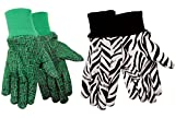 ZoohandsYouth Gardening Gloves, Cotton Jersey, 4 Pair Pack, Zebra & Alligator Print (Small Ages 3-6)
