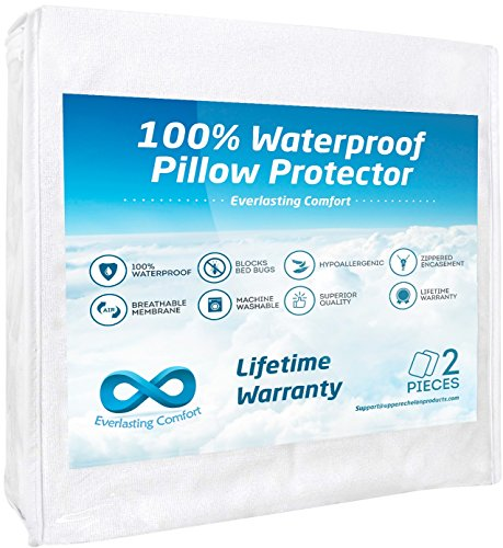 Everlasting Comfort 100% Waterproof Pillow Protector, Hypoallergenic, Breathable Membrane, Lifetime Replacement Guarantee (Standard, 2-Pack)