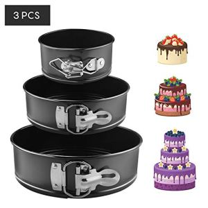 EKKONG Cake Tins Set, Cake Pan 3 Pieces 4″/7″/9″ Non-Stick Leakproof Round Springform Cake Tin with Removable Bottom (3 pcs) 51 2BoWt6ilzL