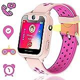Themoemoe Kids GPS Tracker Watch, Kids Smart Watches Girls, GPS Watch for Kids, Kids Smartwatch, 1.44' GPS Tracker Smartwatch Touch, with GPS Camera Games Flashlight SOS Alarm Clock Function(Pink)