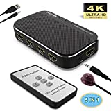 HDMI Switch 4k-ZACCASAluminum HDMI Switch 5 in 1 Out, HDMI Switch with IR Remote Control, HDMI Switcher Supports 4k@30HZ 3D HD1080P for PS4 Xbox Apple TV Fire Stick Blu-Ray Player