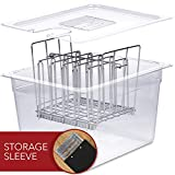 Sous Vide Container with Lid & Rack | Sous Vide Accessories Starter Kit For Most Sous Vide Cookers | Durable Polycarbonate and Rust Proof Stainless Steel - 12 Quart Capacity