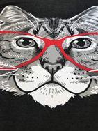 Red-Linda-Glasses-Cat-Sassy-Funny-Kitty-Belcher-Cute-V-Neck-T-Shirt-for-Women