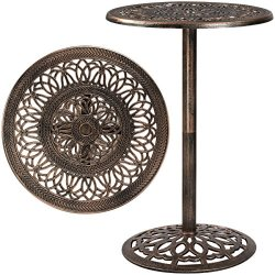 Best Choice Products 3-Piece Outdoor Cast Aluminum Bar Height Patio Bistro Set w/ 2 360-Swivel Chairs – Antique Copper