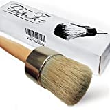 Chalk Paint Wax Brush - 2 in 1 Chalk Paint-Paint Brush-Professional Quality Hand Made Round Brush for Furniture-Cabinets-Dressers-Home Decor-Drill-Snowboard-Ski-Annie Sloan Paint|Bonus Free Ebook