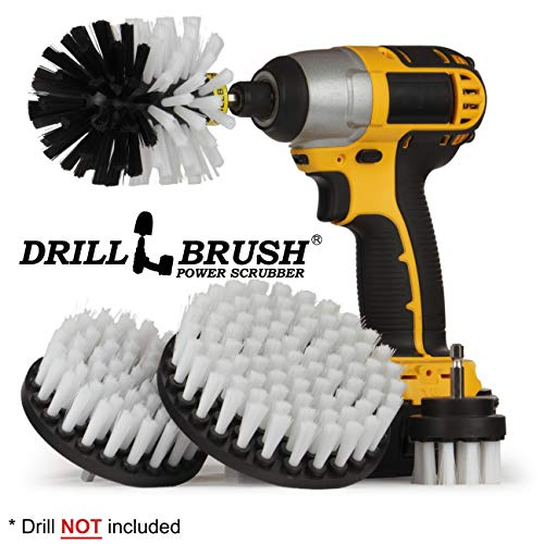 Drillbrush Automotive Soft White Drill Brush - Leather Cleaner - Car Wash Kit - Car Cleaning Supplies - Wheel Cleaner Brush - Car Detailing Kit - Car Carpet - Interior, Vinyl, Seat Cleaner