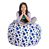 Posh Stuffable Kids Stuffed Animal Storage Bean Bag Chair Cover - Childrens Toy Organizer, Large 38' - Canvas Bubbles Blue and White