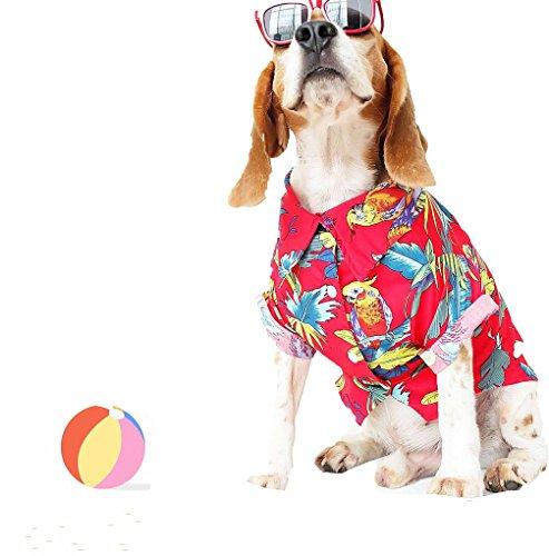 Runncha Shop Red Pet Puppy Dog Shirts, Small Dog,Large Dog T-Shirts,Clothes, Apparel,Hawaiian Style 1