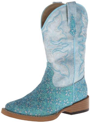 Roper Square Toe Glitter Floral Western Boot (Toddler/Little Kid),Turquoise,11 M US Little Kid