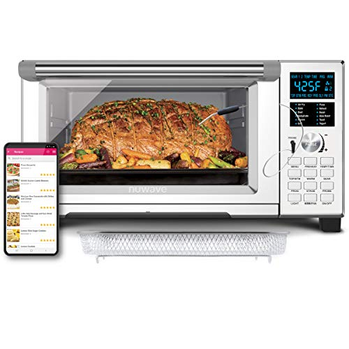 NUWAVE-BRAVO-XL-1800-Watt-Convection-Oven-with-Crisping-and-Flavor-Infusion-Technology-FIT-with-Integrated-Digital-Temperature-Probe-for-Perfect-Results-12-Programmed-Presets-3-Fan-Speeds-5-Quartz-Hea