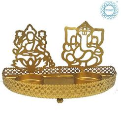 STITCHNEST-Metal-Divine-Shadow-Ganesh-and-Lakshmi-Diya-Tealight-Candle-Holder