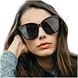 LVIOE Polarized Oversized Frame 100% UV Protection Fashion Cateyes Style Sunglasses Eyewear for Women (Black, Black)