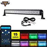 Auxbeam 32' Multi-color LED Light Bar V Series 180W 5D RGB Off road LED Bar Spot Flood Combo Beam with Bluetooth App & Wiring Harness