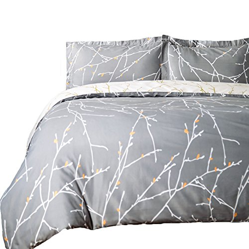 Bedsure Branch Printed Duvet Cover Set Ultra Soft Bedding Set With Zip
