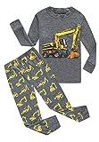 Family Feeling Excavator Little Boys Long Sleeve Pajamas Sets 100% Cotton Pyjamas Toddler Kids Pjs Size 3T Grey