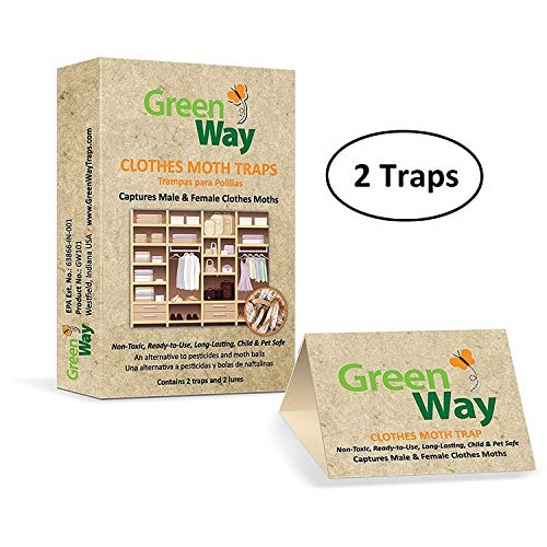 GreenWay Clothes Moth Traps (2 traps per box) - pheromone attractant, eco-friendly, kid and pet safe