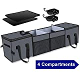 Car Trunk Organizer & Storage with Insulation Cooler Bags for SUV,Truck,Automotive,Van,Cargo Collapsible Portable Multi Compartments with Straps, 4 Compartments Convertible, Grey