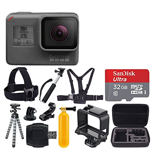 GoPro HERO5 Black + SanDisk Ultra 32GB Micro SDHC Memory Card + Hard Case + Chest Strap Mount – Head Strap Mount + Flexible Tripod + Extendable Monopod + Floating Handle – Great Value Bundle