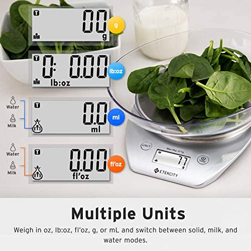 Etekcity 0.1 g Food Kitchen Gram Scale with Bowl, Accurate Measuring Tools in Ounces and Pounds for Baking, Cooking, Packages and Weight Loss, Silver Stainless Steel, 11lb/5kg 4