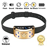 [NEW 2018 MODEL] Rechargeable Bark Collar - SMART Detection Dual Anti-Barking Modes: Flash+Beep+Vibration/Shock for Medium, Large Dogs. 100% Waterproof. No-Bark Training & Control System