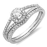 Dazzlingrock Collection 0.45 Carat (ctw) 14K Round Diamond Bridal Halo Engagement Ring Set 1/2 CT, White Gold, Size 7