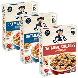 Quaker Oatmeal Squares Breakfast Cereal, Brown Sugar & Cinnamon Variety Pack (3 Pack) (00030000562437)