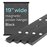 19' Wide Magnetic Poster Frame Hanger in Black - Solid Wood and Magnets Strong Enough to Hang Any Length