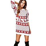 Clearance Forthery Christmas Sweater Women Ugly Snowflake Merry Xmas Mini Dress(Red, Medium)