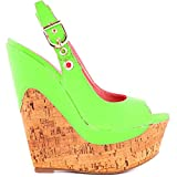 Shoe Republic LA Glacier Cork Wedge Sandals (8, Neon Green)