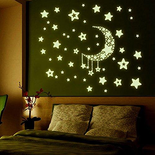 YeahiBaby Pegatina de Estrella y Luna Fluorescente Etiqueta de la Pared Extraíble Decoración de...