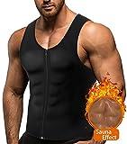 BRABIC Hot Sauna Sweat Suits,Zipper Closure Tank Top Shirt for Weight Lost,Waist Trainer Vest Slim Belt Workout Fitness-Breathable, Neoprene Fabric (Black #2 Classical Sweat Vest, M)