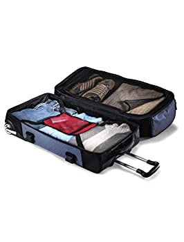 Bottom compartment with detachable toiletry case and compression straps