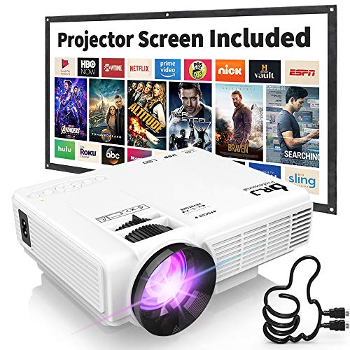 DR-J-Professional-HI-04-1080P-Supported-Portable-Movie-Projector-3600L-Mini-Projector-with-100Inch-Projector-Screen-Compatible-with-TV-Stick-Video-Games-HDMIUSBTFVGAAUXAV-Latest-Upgrade