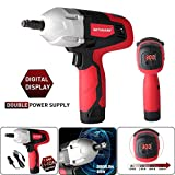 GETUHAND Electric Impact Wrench Kit, Double Power(Battery-Powered and Corded-Electric), Digital Display Torque Adjustable, 300 ft-lbs 400 N.M Torque,12Volts&1/2 Inch Portable Car Impact Wrench
