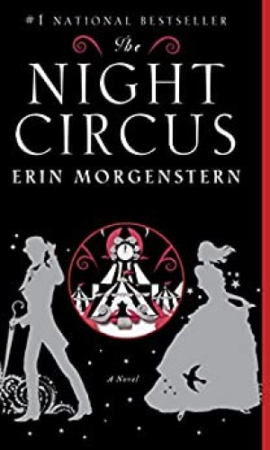 Book cover The Night Circus girl in dress and boy in suit and tophat standing in front of circus
