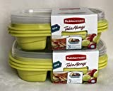 Rubbermaid TakeAlongs 12-Piece Set Divided-Base Meal Prep Food Storage Containers (6 Bases + 6 Lids) 3.7 cups CITRON