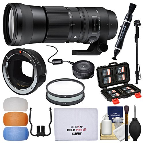 Sigma 150-600mm f/5.0-6.3 Contemporary DG OS HSM Zoom Lens (for Canon EOS) & MC-11 Mount Converter + USB Dock + Filters + Monopod Kit for Sony FE & E-Mount Cameras