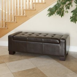 Christopher Knight Home Guernsey Bonded Leather Storage Ottoman Bench, Chocolate Brown