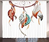 Ambesonne Feather Curtains, Watercolor Dream Catcher Inspirations Traditional, Living Room Bedroom Window Drapes 2 Panel Set, 108' X 108', Sienna Seafoam