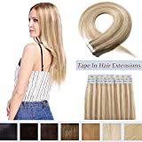 Tape In Hair Extensions Human Hair Invisible Seamless Skin Weft Double Side Tape Remy Human Hair Extensions Natural Straight For Women (16'',30g/20pcs,#18P613 Ash Blonde&Bleach Blonde)