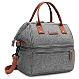 Lokass Lunch Bags for Women Wide Open Insulated Lunch Box With Double Deck Large Capacity Cooler Tote Bag With Removable Shoulder Strap Leak-Proof Lunch Organizer For Men/Girls/Outdoor/Work(Grey)