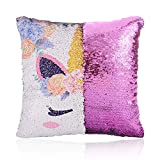 GONOMI Unicorn Magic Reversible Sequin Flip Mermaid Pillow Cover Throw Cushion Case Decorative Pillowcase (Purple, 16'x 16')