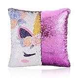GONOMI Unicorn Magic Reversible Sequin Flip Mermaid Pillow Cover Throw Cushion Case Decorative Pillowcase (Purple, 16'x 16')