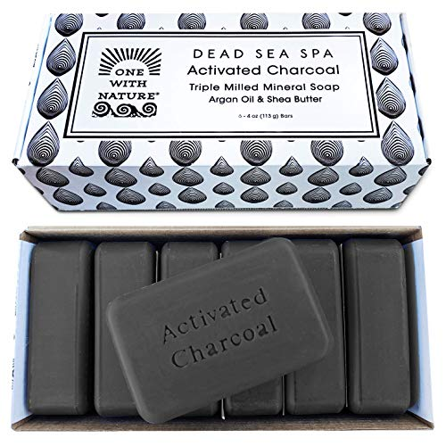 DEAD SEA Salt CHARCOAL SOAP, 4oz 6pk - Activated Charcoal, Shea Butter, Argan Oil. For Problem Skin, Skin Detox, Acne Treatment, Eczema, Psoriasis, Antibacterial, Natural