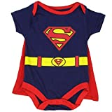 """Superman Infant Baby Boys """"Creeper Onesie Bodysuit Snapsuit"""" With Cape (0-3 mo., Navy Blue)"""
