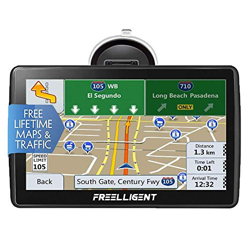Car GPS Navigation,Lifetime Map Update, 7-inch HD Touch Screen& 8G-256MB Memory, Voice Broadcast GPS Navigation System, Including Multi-Function Car Charger - FREELLIGENT