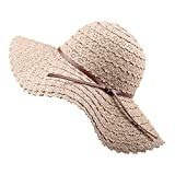 FURTALK Summer Beach Sun Hats for Women Foldable Floppy Lace Cotton Wide Brim Hat Caps