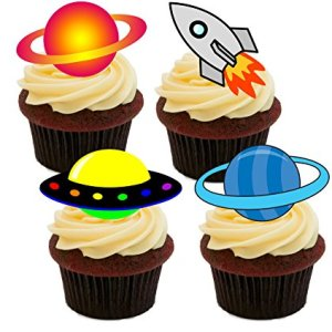 Outer Space – Spacecraft and Planets Edible Cupcake Decorations – Stand-up Wafer Cake Decorations (Pack of 12) 51 Jo14LsxL