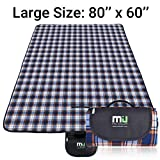 MIU COLOR Outdoor Picnic Blanket Beach Mat 80'' x 60'' Extra Large Fleece Top Comfortable PU Bottom Waterproof Sand Proof Outside Picnic Tote for Park Camping Hiking Grass Travelling (Blue)